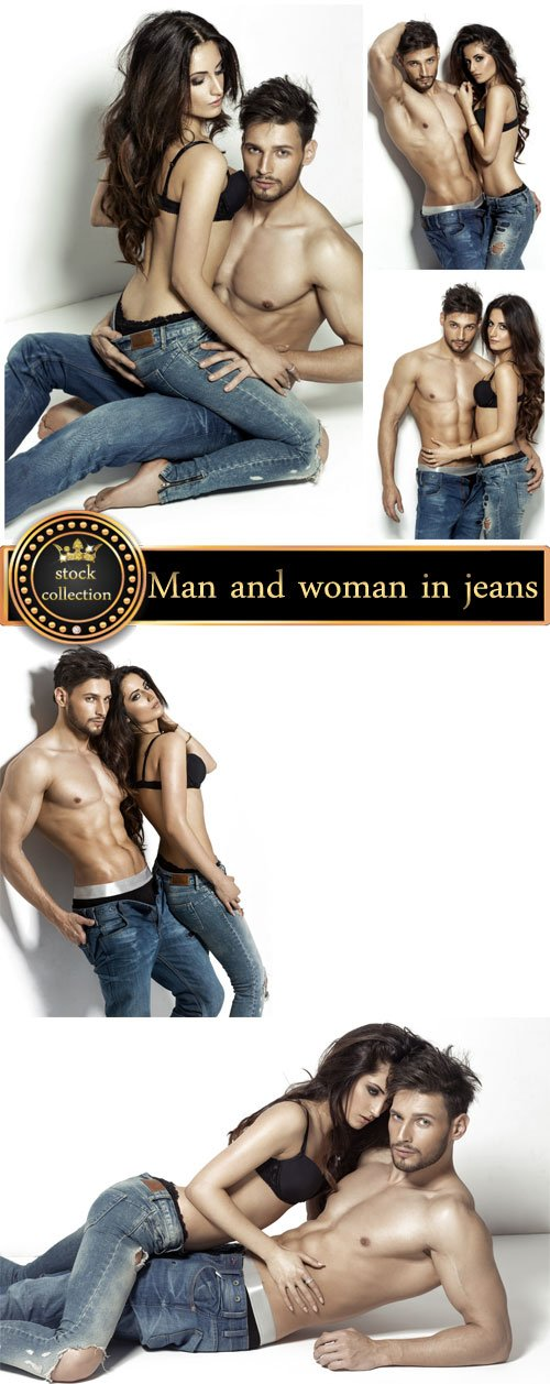Young couple in jeans - stock photos