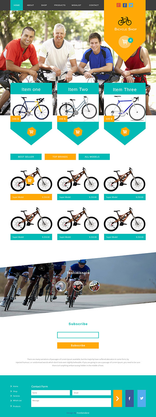 PSD Web Template - Bicycle Shop - Flat Clean e-Commerce Theme