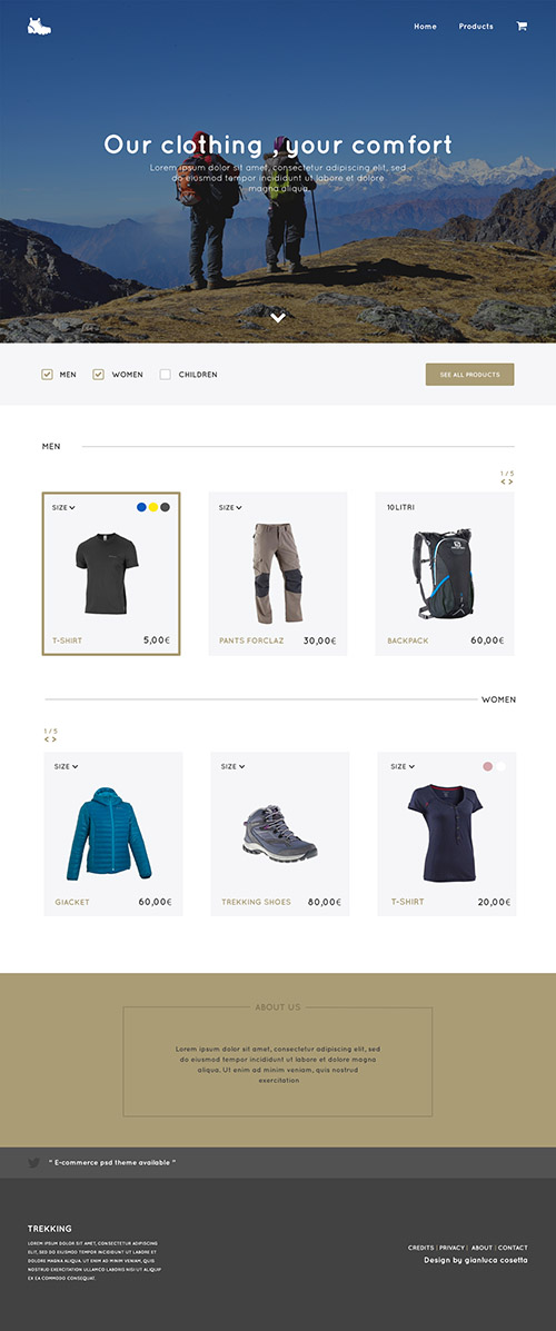 PSD Web Template - Trekking Store - e-Commerce One Page Theme