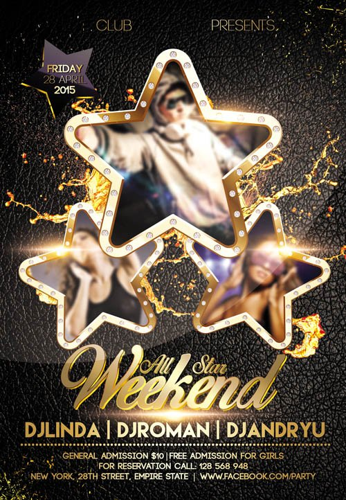 Flyer PSD Template - All Star Weekend Facebook Cover