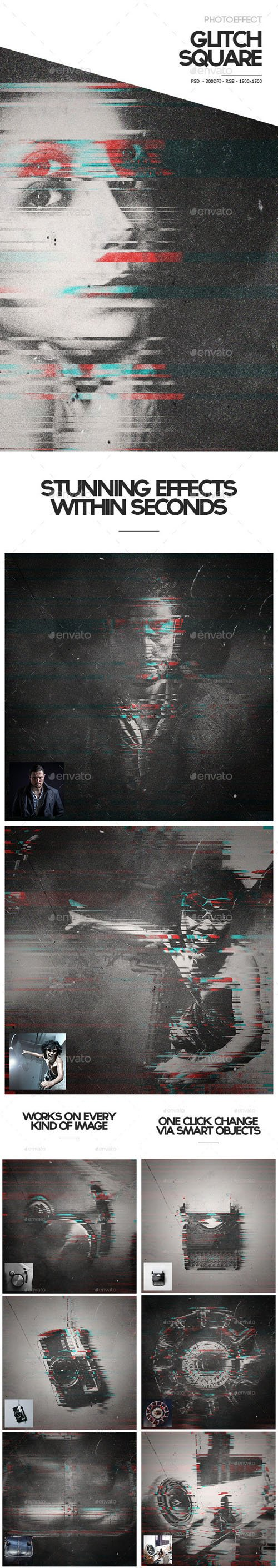 Glitch Square Photoeffect - Graphicriver 11040111