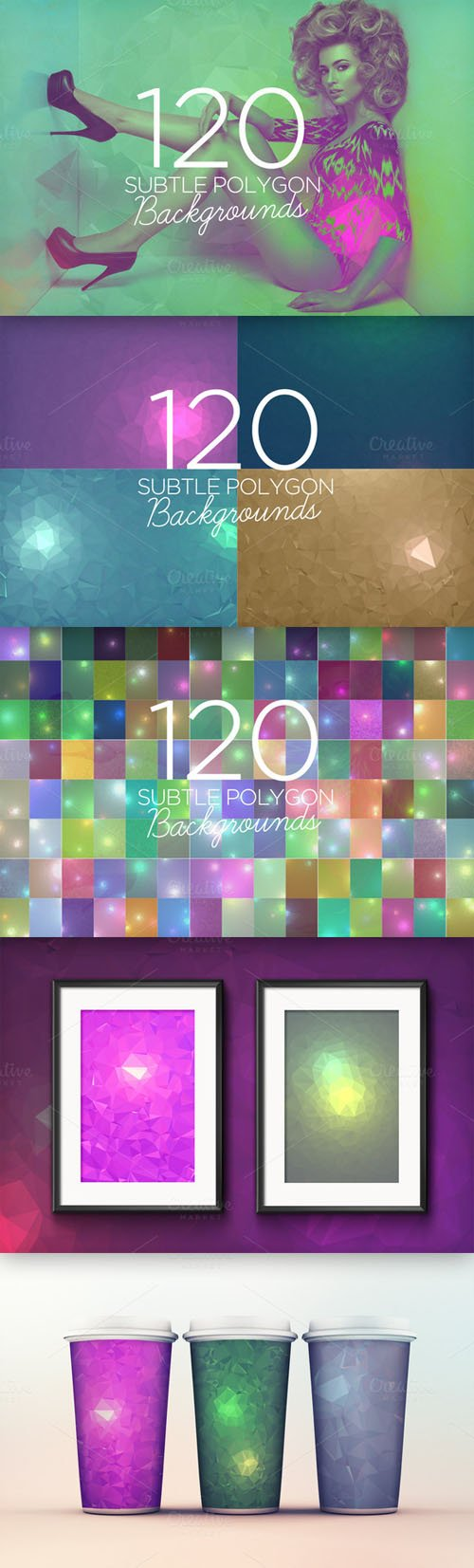 120 Subtle Polygon Backgrounds - Creativemarket 65281