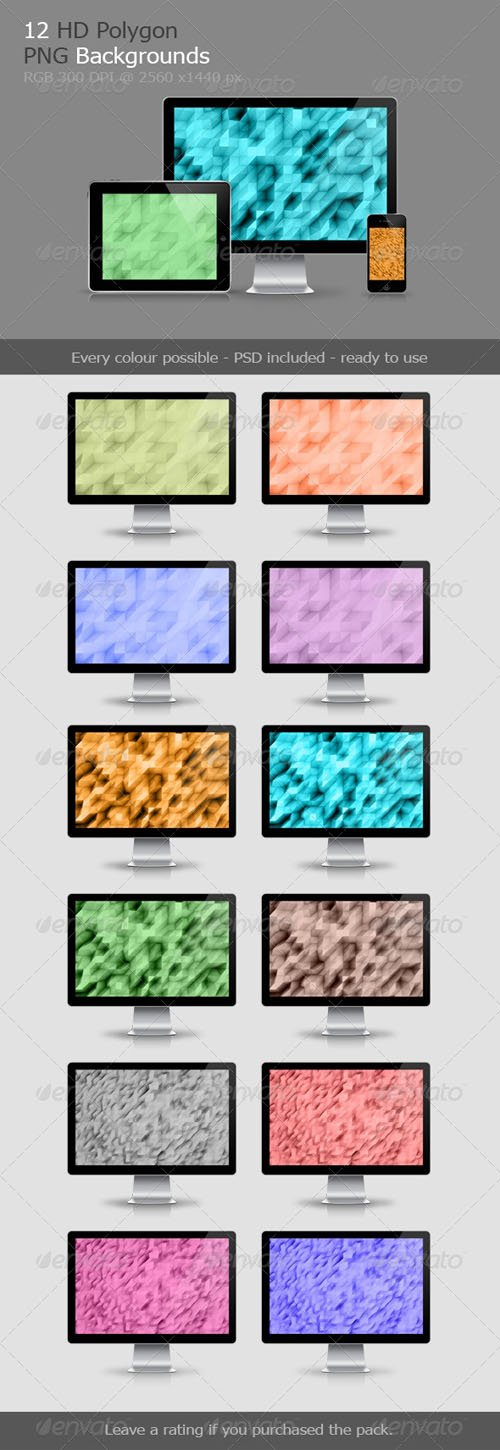 12 Polygon Backgrounds V.1 - Graphicriver 7147609
