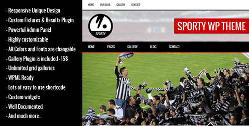 ThemeForest - SPORTY v1.8.1 - Responsive Wordpress Theme for Sport Clubs