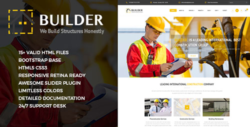 ThemeForest - Builder - Responsive Construction Site Template - RIP