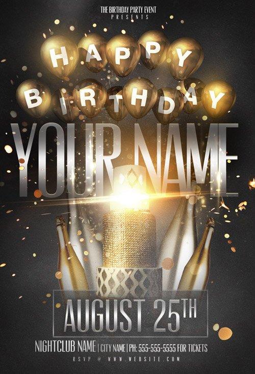 Flyer Template Psd Birthday Name Party 187 Nitrogfx