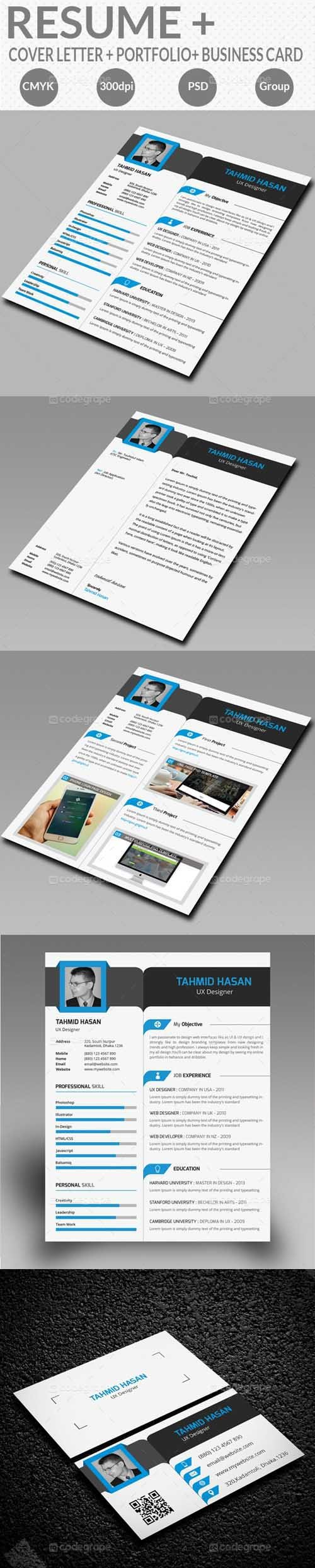 PSD - Resume With Business Card