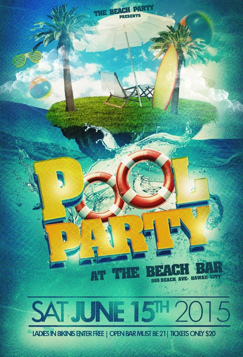 Flyer Template PSD   Pool Party Beach