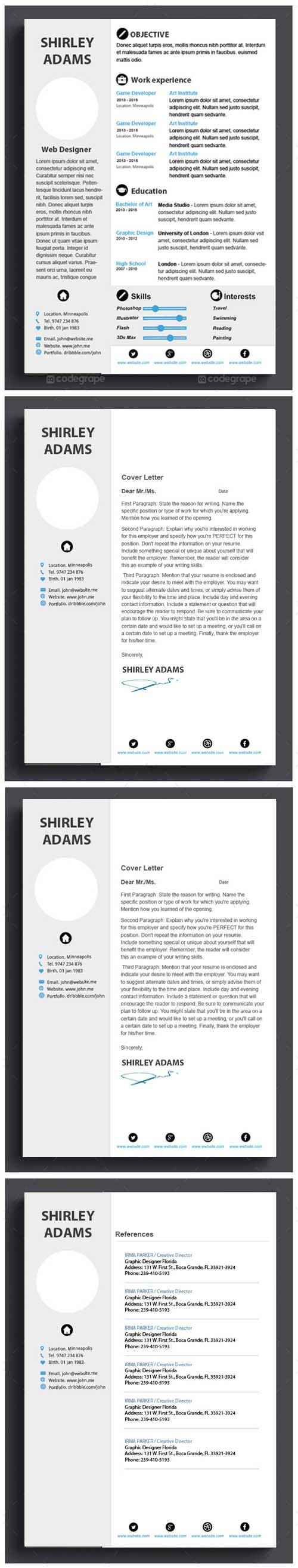 PSD - Clean Resume Template