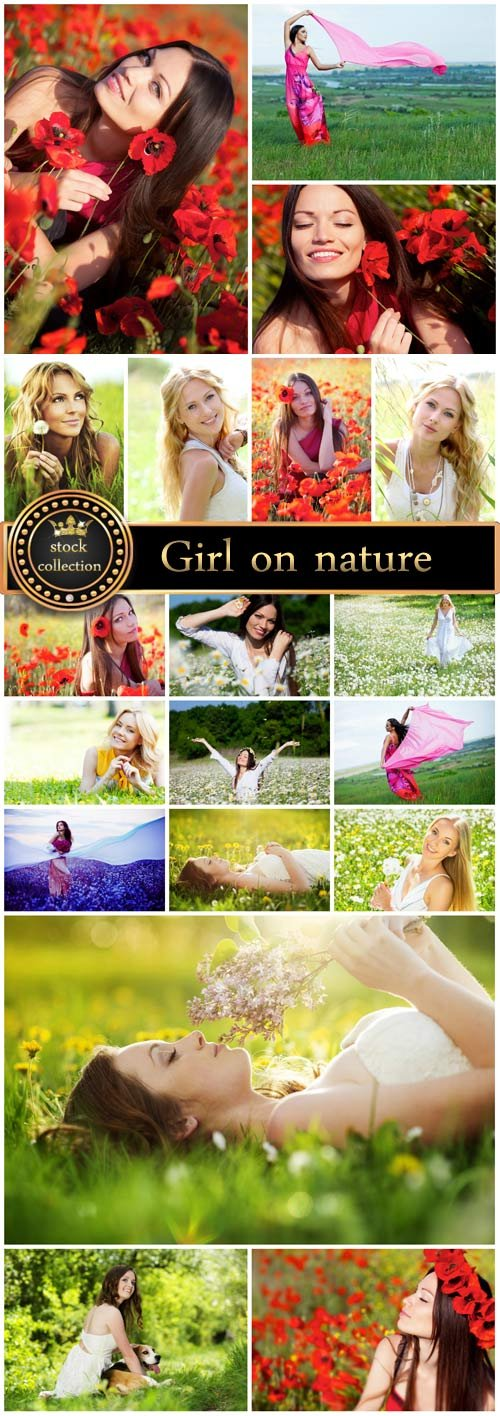 Girls in nature, flower fields - stock photos