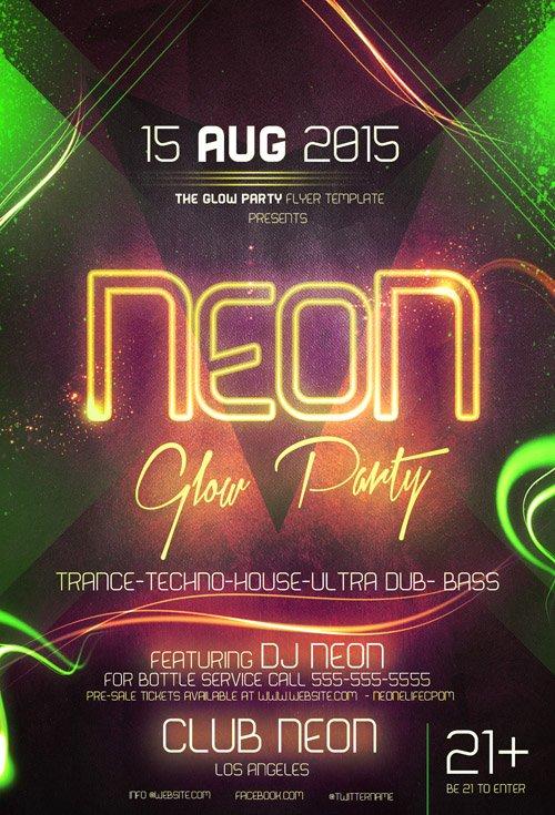 flyer template psd - neon glow party  u00bb nitrogfx