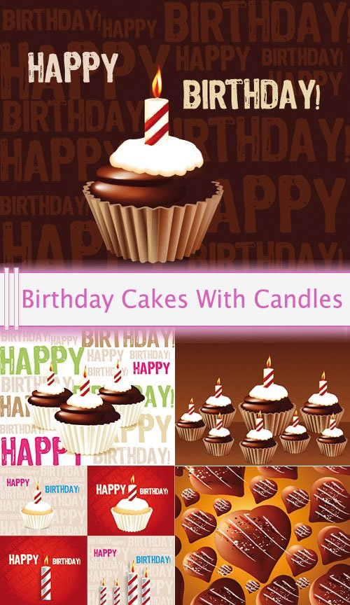 Vector Birthday Cakes With Candles