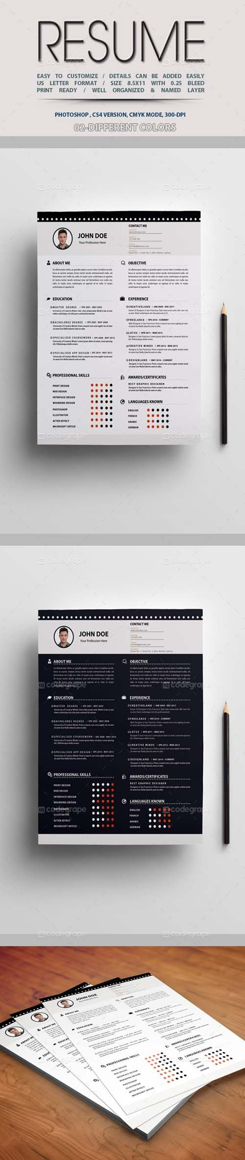 PSD - Resume Template 2 Colors 5236