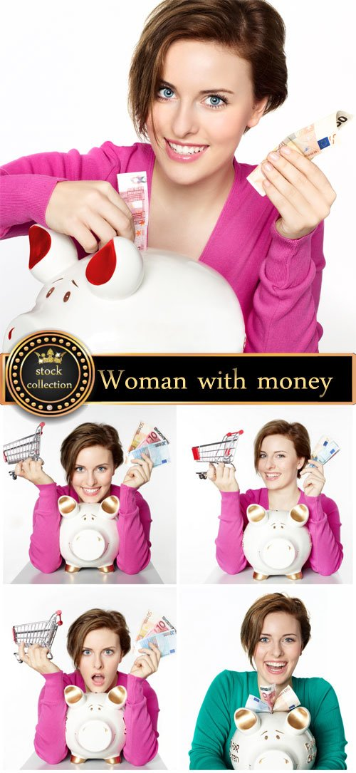 Woman with money and piggy bank - Stock Photo