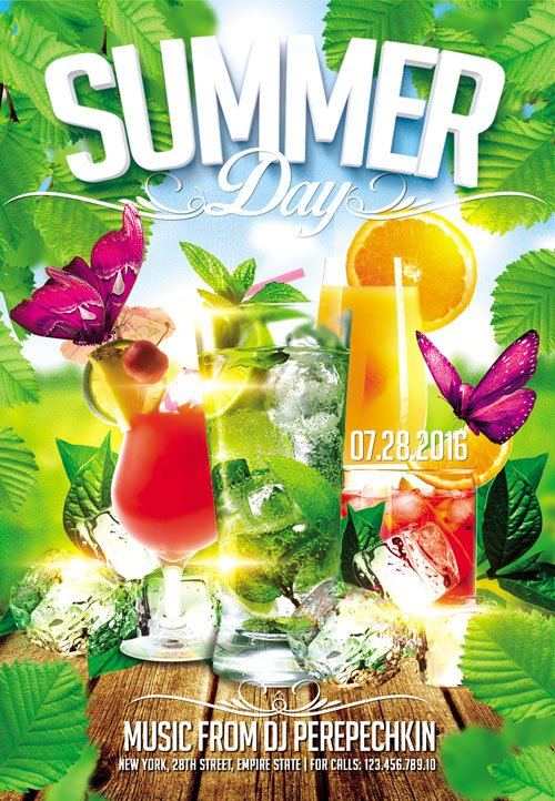 Flyer PSD Template - Summer Day Party Facebook Cover