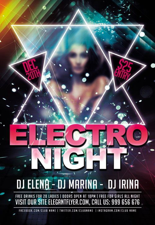 Electro Night Club flyer PSD Template Facebook Cover