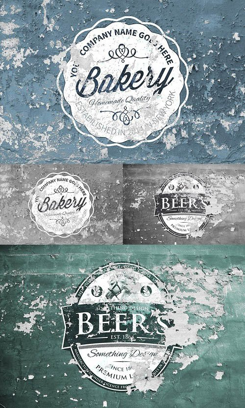 Colored Vintage Labels Peel PSD