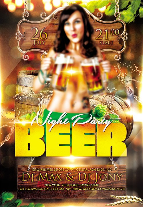 Beer Night Party Flyer PSD Template Facebook Cover