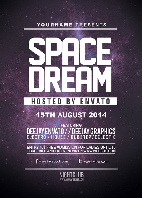 Flyer Template PSD - Space Dream