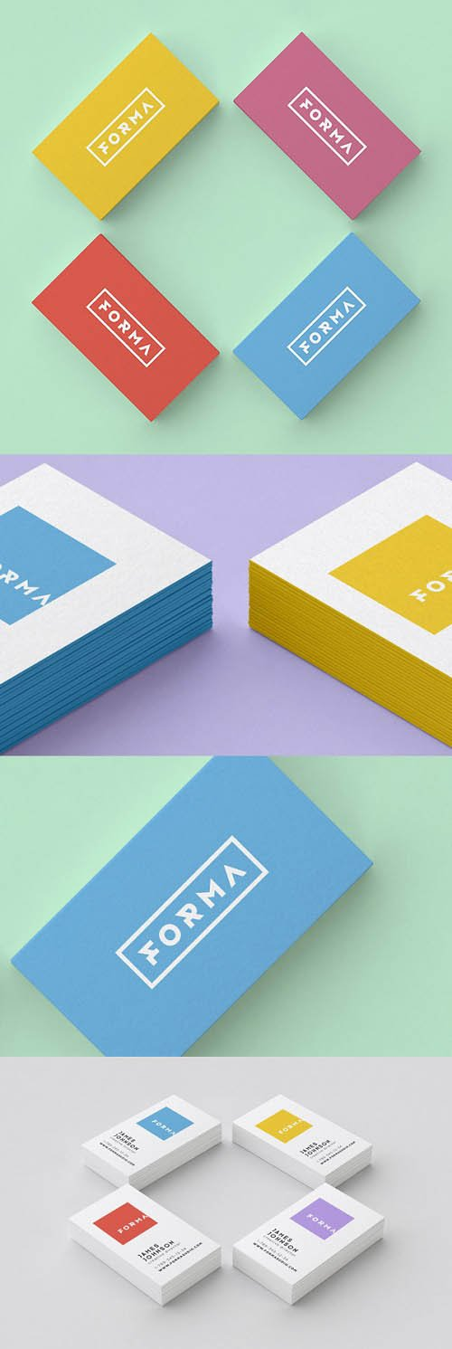 Business Color Cards Mock-Ups PSD