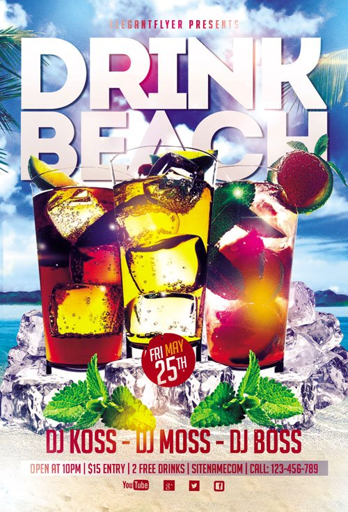 Flyer PSD Template - Drink Beach Club Facebook Cover