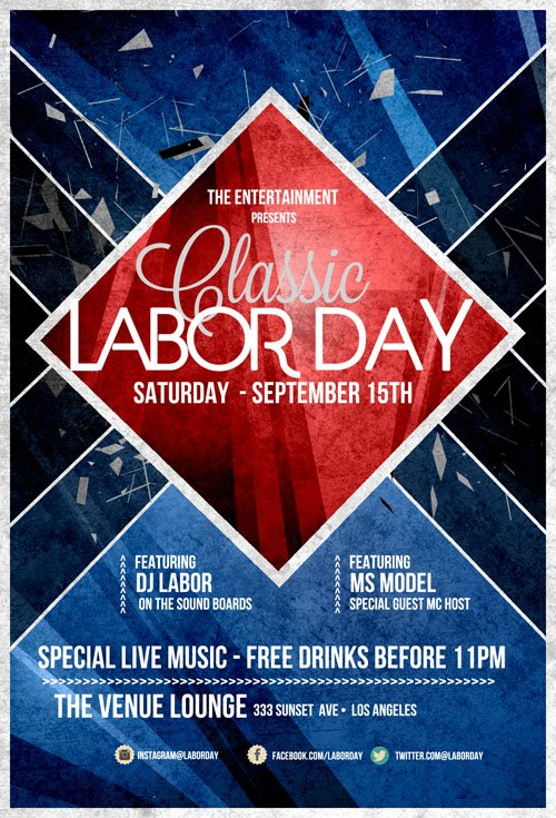 Flyer Template PSD   Labor Day Retro