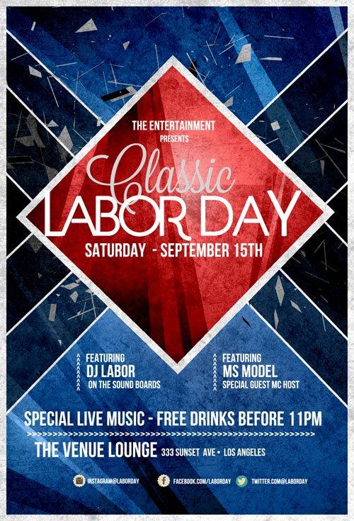 Flyer Template PSD   Labor Day Retro