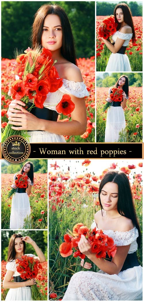 Woman with red poppies - Stock Photo
