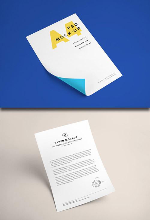 2 PSD Mock-Up's - A4 Paper Template 2015