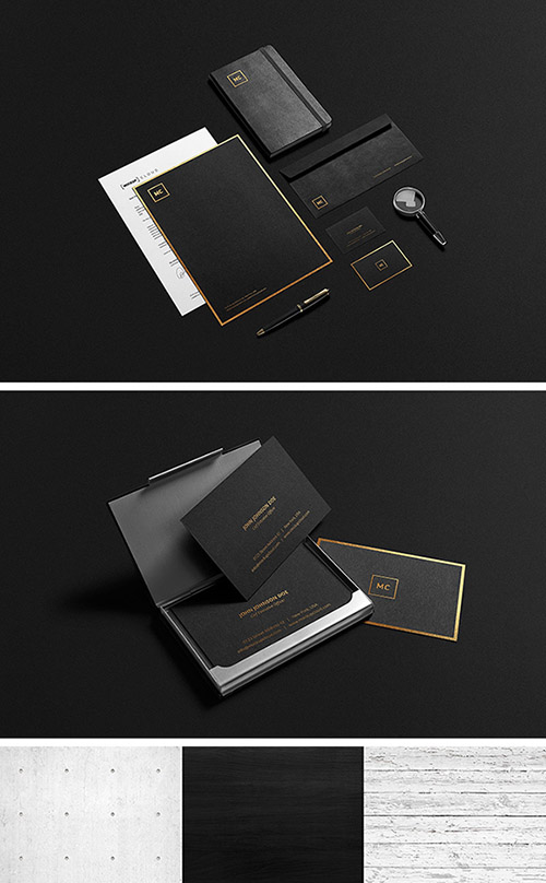 PSD Mock-Up's - Black And Gold Stationery