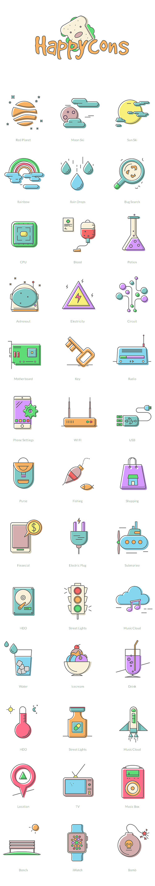 AI, EPS, PNG, SVG, SCETCH Vector Web Icons - Happycons