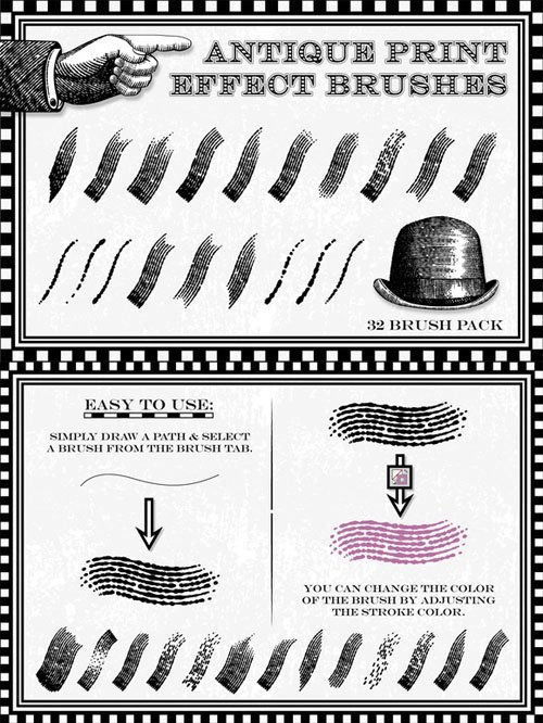 Creativemarket - Antique Print Effect Brushes 22254