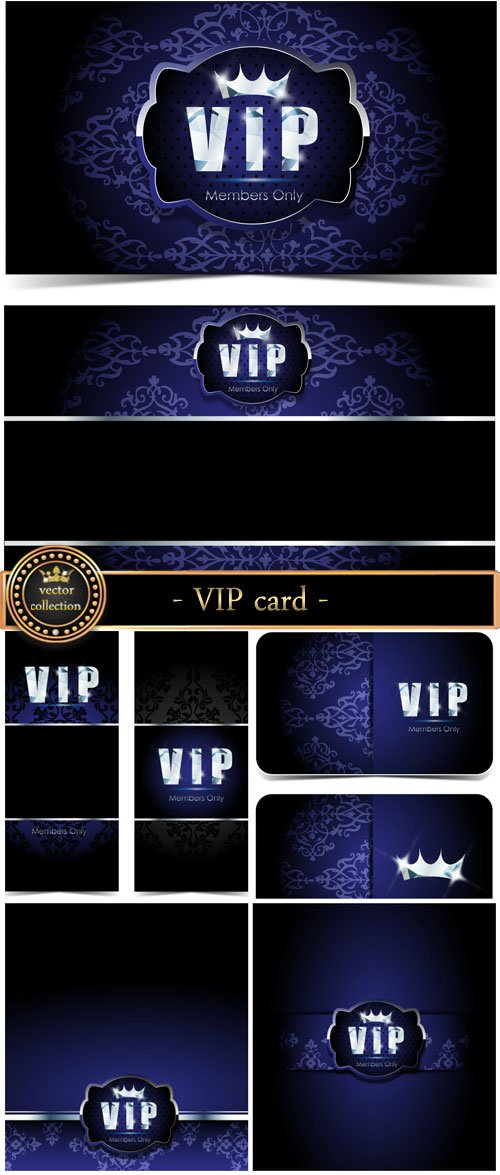 Dark blue VIP card, vector backgrounds