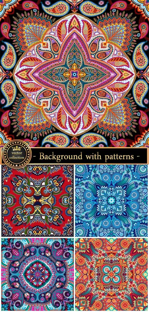Vector background with patterns, beautiful floral patterns