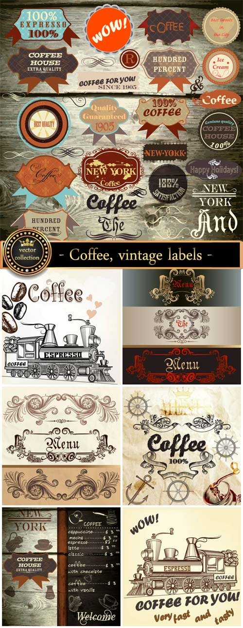 Coffee, vintage labels and backgrounds vector