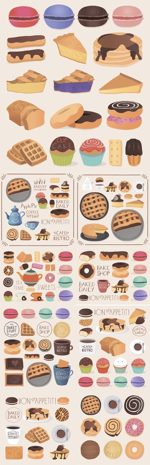 Vector set of chocolate sweets cakes and chocolate food