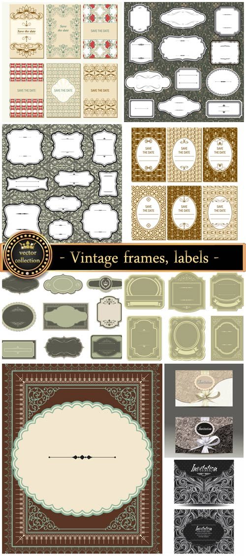 Vintage frames, labels, and invitations vector