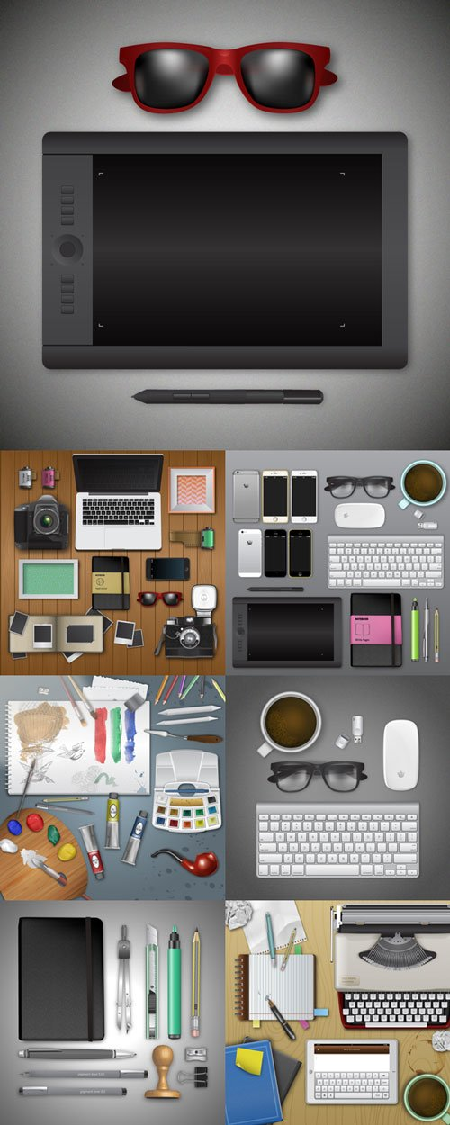 Realistic workplace vector graphics