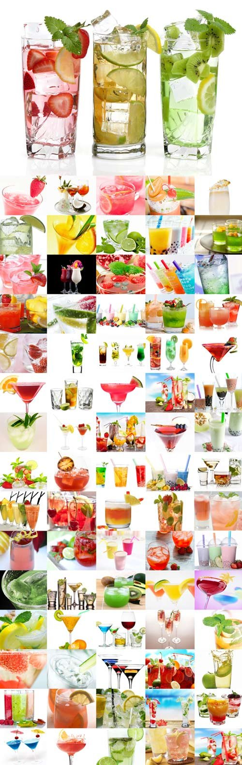 Various drinks raster graphics