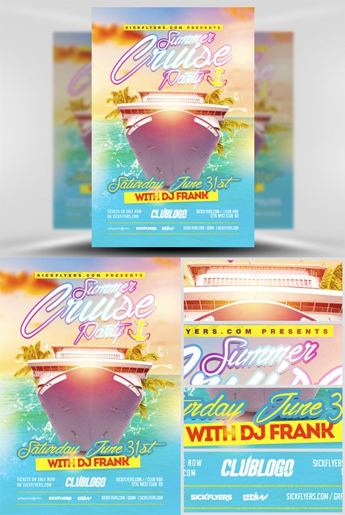 Flyer Template PSD - Summer Cruise Party