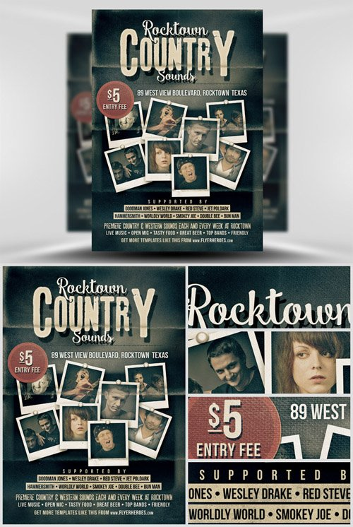 Template PSD - Rocktown Country Sounds Poster