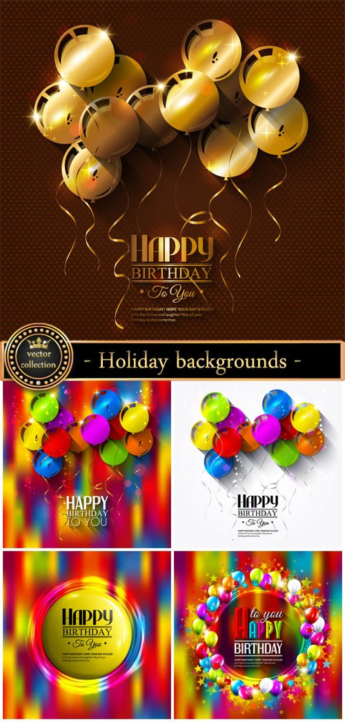 Holiday vector backgrounds, birthday, balloons