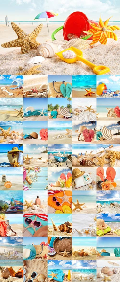 Summer, sea, sun, beach raster graphics