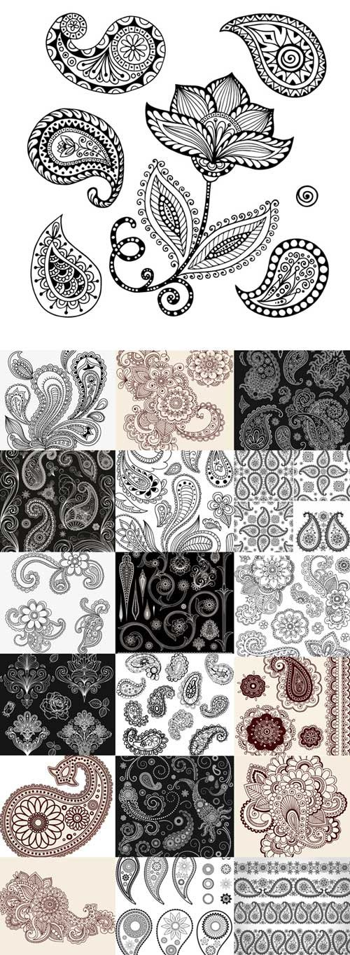 Set of flowers and paisley vector graphics