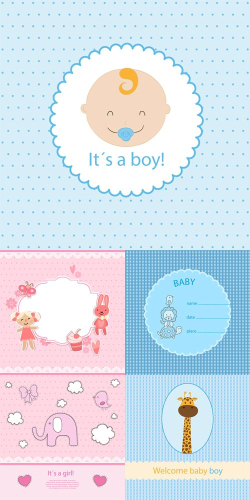 5 Baby Shower Card Vector Templates