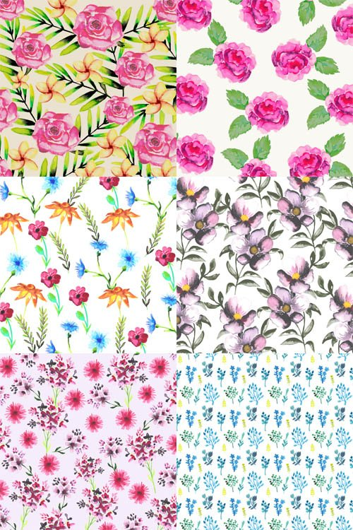 6 Watercolor Floral Patterns Vector Set 1