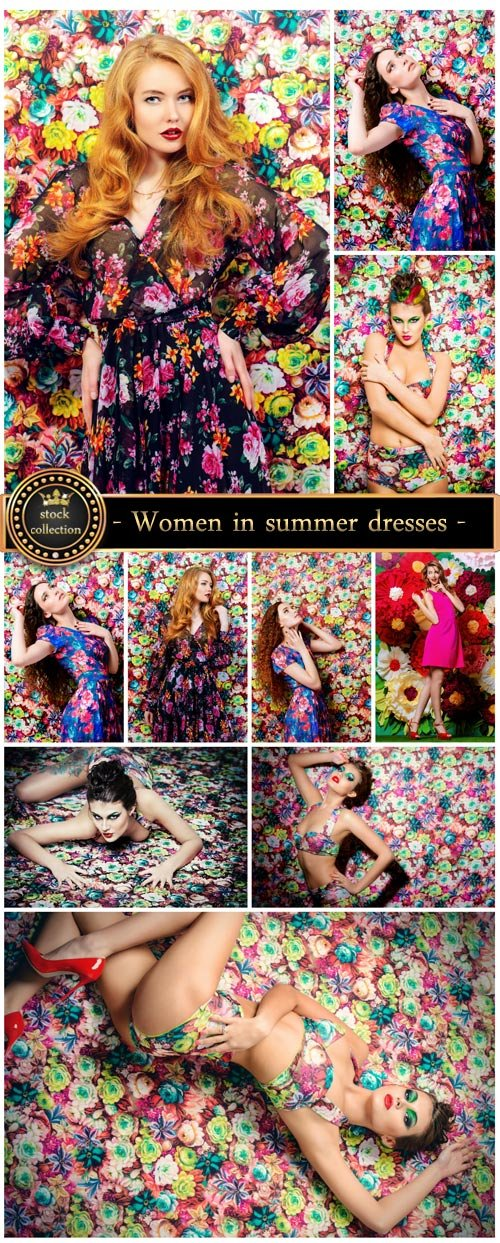 Women in summer dresses on a floral background - Stock photo