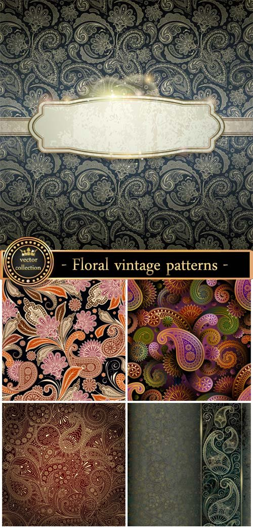 Floral patterns, vintage backgrounds