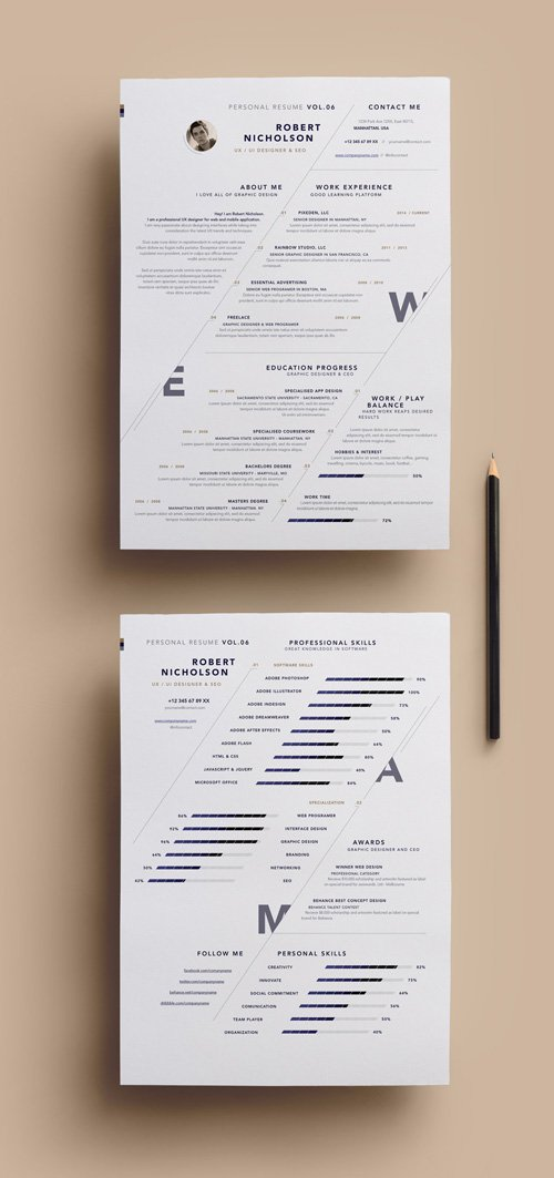 Vector Simple Resume Template vol 7