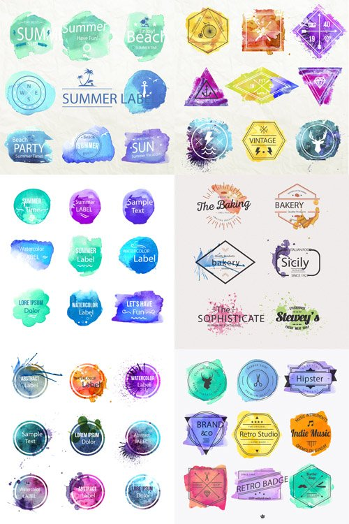 6 Watercolor Vector Labels Set